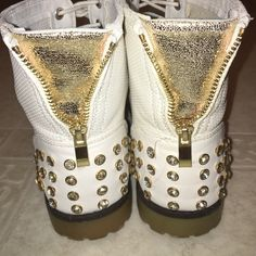 White and gold boots Jewels on the back, white laces, 10/10 condition, from Germany & never worn Shoes Lace Up Boots