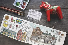 Snippets of my travels from Scandinavia as documented in illustrations. Travel Maps, Travel Posters, Travel Usa, Travel Photos, Art Journal Pages, Art Journals, Travel Journals, Journal Ideas, Travelers Notebook
