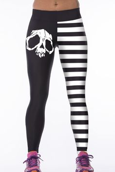 Black With White Stripe and Skull Digital Print Elastic Sports Leggings