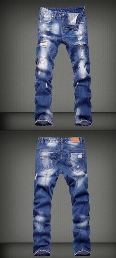 Men's Mid Rise Micro-elastic Street chic Loose Jeans Pants