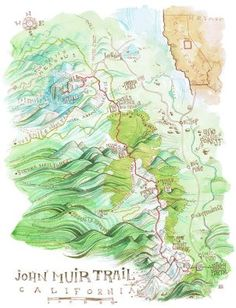 John Muir Trail map poster by Jeremy Collins. Backpacking Trails, Hiking Trips, Road Trips, California Drought, John Muir Trail, Thru Hiking, Pacific Crest Trail, Yosemite Valley, The Mountains Are Calling
