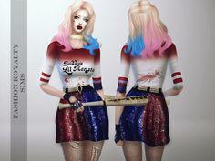 Harley Quinn Outfit 2016 at Fashion Royalty Sims via Sims 4 Updates