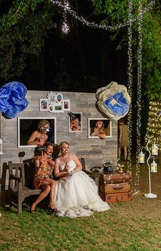 Photo booth matrimonio vintage blu tema viaggio