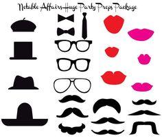 Perfecto para imprimir paquete Props - sombreros, bigotes, los labios, gafas y lazos - para fiestas, bodas, duchas y cabinas fotográficas