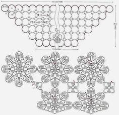 adorno de la flor chal de ganchillo diagrama del patrón libre