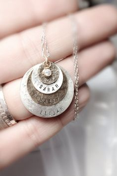 As Seen At THE DENVER POST and Channel 9 News - Personalized Your Charm - Two Tone Necklace -   - 4 discs -Simag on Etsy, $106.88 CAD