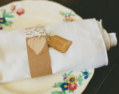 Rustic Wedding Napkin Rings Vintage Place Cards Kraft Paper Heart & Lace , set of 5 - Edit Listing - Etsy