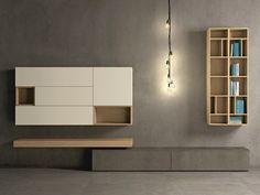 Mueble modular de pared composable de roble SLIM EVOLUTION 62 Colección Slim by Dall'Agnese | diseño Imago Design, Massimo Rosa