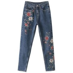 Straight Leg Embroidered Jeans (580 MXN) ❤ liked on Polyvore featuring jeans, pants, relaxed fit jeans, relaxed jeans and blue jeans