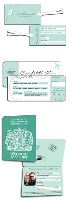 wedding invitations - save the date luggage tag and ticket invitation. I don't like the look of them but love the idea