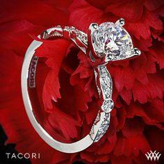 18k White Gold Tacori Sculpted Crescent Petite Diamond Engagement Ring on Wanelo