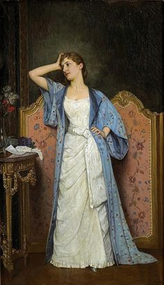Young Woman by the Screen (Auguste Toulmouche - )