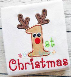 1er premier Noël renne Machine broderie Applique Design 3 taille numérique, applique de rudolph, le renne applique, 1er Noël, bébé