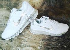 super popular 6c4d8 2d7c8 White Nike Airmax customized with Swarovski Crystal
