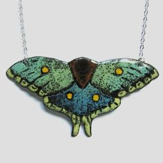Enamel Moth Necklace - Spanish Moon Moth - Statement Jewelry