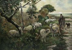 Antique French Oil Painting, Shepherd Dog Sheep Sea Crucifix Brittany, Signed