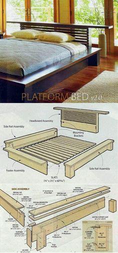 Diy Wood Furniture Projects Platform Beds 51 Ideas For 2019 Bed Furniture, Pallet Furniture, Furniture Projects, Furniture Plans, Furniture Design, Luxury Furniture, Diy Projects, Bed Frame Design, Diy Bed Frame