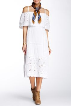 So cute!  White eyelet off-the-shoulder midi dress by Free People