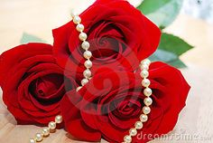 Nice pearl jewelry set  and red roses close up.  Necklace in the flowers, wedding shoot.