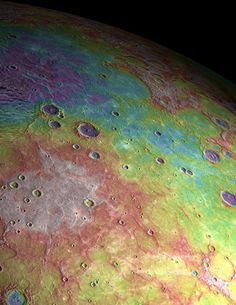 volcanic flatlands on the northern surface of Mercury