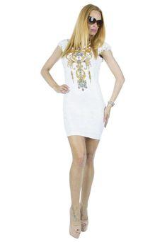 Rochie Dama White Gold  Rochie dama din material elastic ce se muleaza frumos pe corp. Imprimeu auriu cu strasuri in partea din fata/sus.     Latime talie: 36cm  Lungime: 84cm  Compozitie: 90%Poliester, 10%Elasten White Gold, Dresses, Fashion, Vestidos, Moda, Fashion Styles, Dress, Fashion Illustrations, Gown
