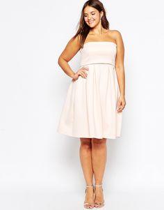 Image 4 ofASOS CURVE Crop Top Mini Bandeau Debutante Dress