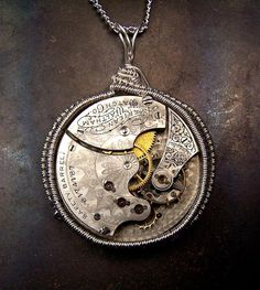 engraved pocket watch movement antique | Custom Made Antique Watch Movement Necklace - Elaborate Sterling ...