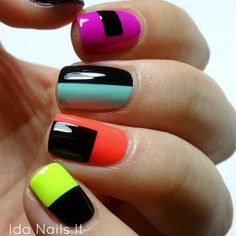Top 40 Color Block Nail Designs for Women - Top Fashion Neon Nails, Love Nails, Diy Nails, How To Do Nails, Nail Design Stiletto, Nail Design Glitter, Stiletto Nails, Colorful Nail Designs, Nail Art Designs