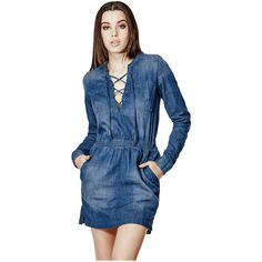GUESS Lace-Up Safari Denim Shirtdress ($89) ❤ liked on Polyvore featuring dresses, denim, lace up front dress, laced up dress, laced dress, denim shirt dress and safari dress