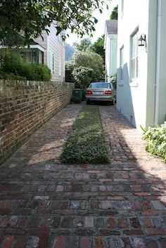 Planting strip in driveway--fill with something low-growing (i.e. clover or thyme) so it doesn't require regular mowing.