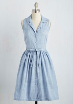 Within Outreach Dress. Coordinating the community garden becomes a breeze when you slip into this chambray shirt dress by Bibico! #blue #modcloth