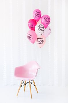 DIY Balloon Wishes | This idea would work well as either a party game or the party decor (or both!). Have balloons blown up but not tied off, with a message written on with permanent marker. When the marker has dried, let the air out of the balloon. The Guest of Honor (be it a bride, a birthday person, or a mom-to-be) can then have the balloons blown up later on their special day to see and enjoy the personalized messages from dear friends.