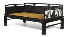 A rare Zitan Luohan Bed with Marble Panels, Luohanchuang<br>Qing Dynasty, 18th Century | lot | Sotheby's