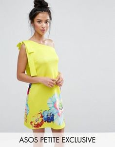 ASOS PETITE Occasion One Shoulder Mini Dress in Placement Floral Print at asos.com