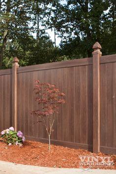 What a cool new fence idea. Grand Illusions Vinyl Woodbond Walnut (W103) #illusionsfence