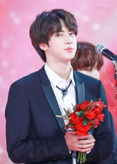 "BTS 's Jin has been ""Worldwide Handsome"" since birth, but now he has a gorgeous trophy to prove it. In December Jin was entered . Namjin, Seokjin, Friend Zone, Pink Princess, Worldwide Handsome, Bts Group, Bts Pictures, Bts Jin, Korean Singer"