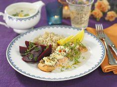 Ostgratinerad lax med citronsås - Recept - Stowr Risotto, Grains, Rice, Ethnic Recipes, Budget, Food, Essen, Meals, Budgeting
