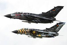 Luftwaffe's JaBoG 32 Monster and Tiger Panavia Tornado ECR flying in formation