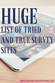 Huge List Of Tried and True Survey Sites ELC