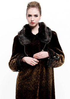 French elegance/faux printing Rabbit hair with mink fur collar and cuff/long coat