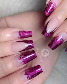 Magenta Nails, Pink Nails, Pointy Acrylic Nails, Nail Tip Designs, Mobile Nails, Nails Now, Pretty Nail Art, Glitter Nail Art, Nail Decorations