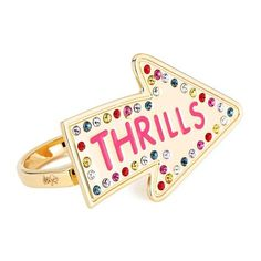 Maria Francesca Pepe Women's Street Neon Thrills Double Finger Ring -... (€105) ❤ liked on Polyvore featuring jewelry, rings, accessories, two-finger ring, initial rings, gold rings, gold two finger ring and gold druzy ring