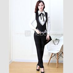 Women's Solid Black Blazer , Work / Plus Sizes Deep V Sleeveless - USD $38.99