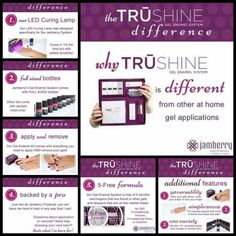TrūShine gel enamel by Jamberry is remarkable. 5 free formula. Available in a variety of great colors & sparkles.  To order online go to: www.kimd.jamberrynails.net