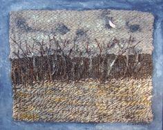 "Handspun and handwoven landscape, 18""x24"", Acrylic, Llama Fiber, 2012, Lydia Chiappini, $400.00."