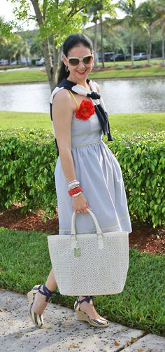 London TImes Striped Cotton Sundress; Ralph Lauren Striped Sweater; Nine West Satin Espadrilles; Ann Taylor Silk Poppy; Kate Spade Sunglasses; Innue Pierced Leather Bag. Preppy stripes are always classic and polished, even when worn casually!  http://www.akeytothearmoire.com/post/21643061109/blooming-stripes