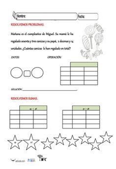 Problemas con rejilla ABN para 1º de Primaria Montessori, Words, Note Cards, Teachers, Activities, Drawings, Horse