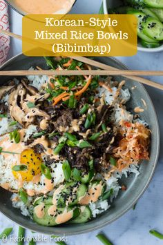These Korean style mixed rice bowls (AKA bibimbap) are a fun way to eat my Instant Pot Korean beef! Toss in some crisp veggies, sautéed mushrooms, a fried egg, kimchi, and a delicious gochujang mayo for the ultimate bowl.