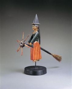 """""""Witch on a Broomstick,"""" Whirligig - Late 19th century"""