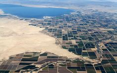 Agricultural farm land is shown near the Salton Sea and the town of Calipatria in California